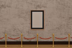 A wooden picture frame on wall with stand rope barriers. 3D illu. Stration royalty free illustration