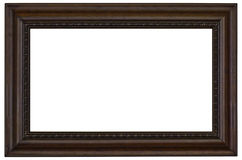 Wooden Picture Frame on White. Wooden picture frame border isolated on a white background Royalty Free Stock Photos