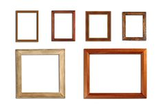 Wooden picture frame on a white background. royalty free stock photo