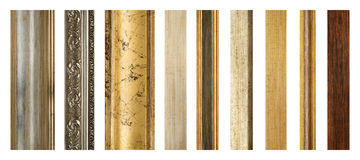 Wooden picture frames. Parts of wooden picture frames. Various thicknesses and textures Stock Image