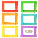 Wooden picture frames color set. For your web design Royalty Free Stock Photos