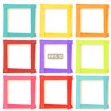 9 wooden picture frames color set Royalty Free Stock Photo