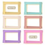 Wooden picture frames pastel set. For your web design Stock Photo