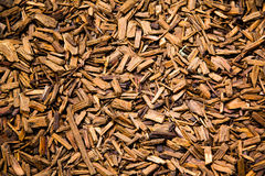 Wooden pieces of bark mulch Royalty Free Stock Images
