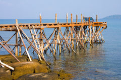 Wooden pier. In Thailand, view on Koh Kood Royalty Free Stock Photo