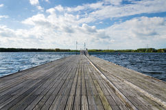 Wooden pier in Almere. Wooden pier in Weer Water, Almere, Netherlands royalty free stock image