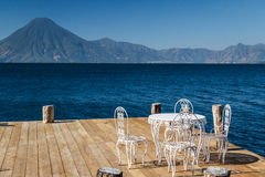 Wooden pier on Atitlan lake Royalty Free Stock Images