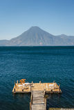 Wooden pier on Atitlan lake Royalty Free Stock Image