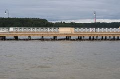 The wooden pier in Augustow. Poland Royalty Free Stock Photos