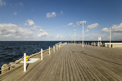 Wooden pier on the Baltic coast during a storm. Sopot, Poland royalty free stock images