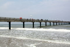 Wooden pier in Baltic Sea. Germany Stock Photos