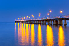 Wooden pier on Baltic Sea at night Royalty Free Stock Photography