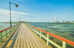 Wooden pier and bathhouse in Malmo Royalty Free Stock Image
