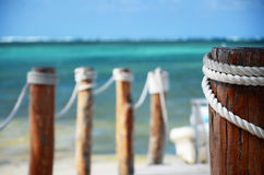 Wooden pier and beach Stock Photo