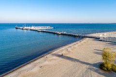 Wooden pier and beach in Sopot Poland. Aerial view stock photo