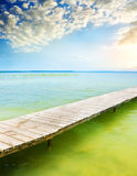 Wooden pier on beautiful lake. Stock Photography