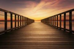 Wooden pier with beautiful sky Stock Photos