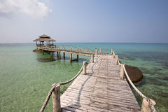 Wooden pier on the beautiful tropical beach, island Koh Kood , Thailand Stock Photography