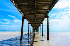 Wooden pier with blue sea and sky background Stock Images