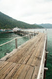 Wooden pier and  boat Royalty Free Stock Photography