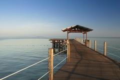 Wooden pier borneo seascape mabul island Stock Photography