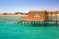 Wooden pier with change room house on Red Sea Stock Images