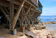 Wooden Pier and Coast in Monterey California Stock Photos