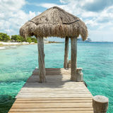 Wooden pier on Cozumel Island, Mexico Stock Image