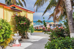 Wooden pier dock and ocean view at Caye caulker Belize Caribbean Stock Photo