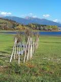 Wooden pier at dry shore of Liptovska Mara royalty free stock photography