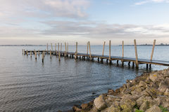 Wooden pier at Dutch lake in the early morning Royalty Free Stock Photography