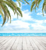 Wooden pier, exotic sea and the  blue sky Royalty Free Stock Image