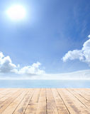 Wooden pier, exotic sea and a blue sky Royalty Free Stock Images