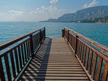 Wooden pier Garda Lake Italy Stock Image