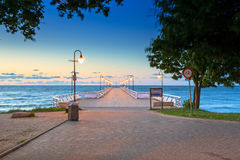 Wooden pier in Gdynia Orlowo at sunrise Royalty Free Stock Images