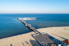 Wooden pier and beach in Sopot Poland. Aerial view royalty free stock images