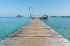 Wooden pier with hut in Phuket, Thailand. Summer, Travel, Vacation and Holiday concept. royalty free stock image