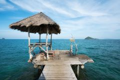 Wooden pier and hut in Phuket, Thailand. Summer, Travel, Vacatio Royalty Free Stock Images