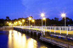 Wooden pier in Jurata, night view Royalty Free Stock Photography