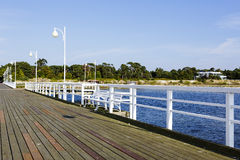 Wooden pier, Jurata in Poland Stock Photos