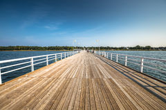 Wooden pier in Jurata town on coast of Baltic Sea, Hel peninsula. Poland Stock Photo