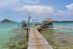 Wooden pier on the Koh Kood island. Thailand Royalty Free Stock Image