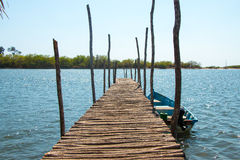 Wooden Pier at La Paz, El Salvador Stock Photo