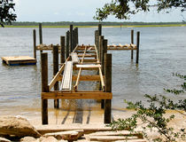 Wooden pier and lake Stock Photos