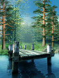 Wooden pier on a lake royalty free illustration