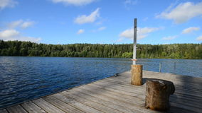 Wooden pier on the lake stock video
