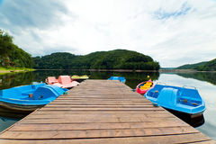 Wooden pier in Lake Bystrzyckie, Poland Royalty Free Stock Images