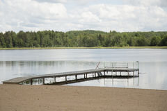Wooden pier in lake Stock Image