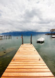 Wooden pier at Lake Geneva 2 Royalty Free Stock Photos