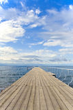 Wooden Pier on Lake Issyk-Kul, Kyrgyzstan Royalty Free Stock Photography